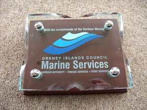 Plaques engraved and infilled with colour, supplied to Orkney Harbour Authority