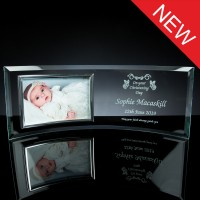 Curved 6mm Glass Frame with 6x4 inch Chrome Photo Frame, Single, White Boxed
