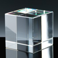 Optical Crystal Award 2.5 inch Cube, Single, Velvet Casket