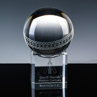 Optical Crystal Sports Trophies 3 inch Cricket Ball, Single, Velvet Casket