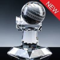 Optical Crystal Sports Trophies 8.5 inch Cricket Ball, Single, Velvet Casket