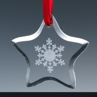 Optical Crystal 3.15 inch Christmas Tree Decoration Star, Single, Blue Boxed