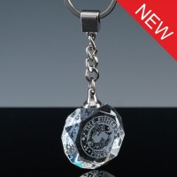 Optical Crystal Gift Round Keyring, Single, Blue Boxed